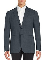 John Varvatos Regular Fit Tonal Plaid Wool Sportcoat Petrol Blue