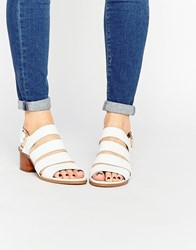 London Rebel Strappy Mid Heeled Sandals White