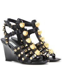 Balenciaga Arena Leather Wedge Sandals Black