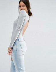 Asos Body With Open Back And Long Sleeve In Rib Grey Marl