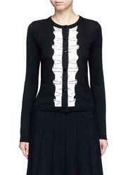 Alice Olivia Sequin Ruffle Trim Wool Cardigan Black