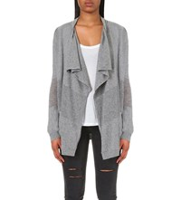 The Kooples Open Front Stretch Cashmere Cardigan Grey