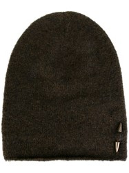 Isabel Benenato Piercing Detail Beanie Hat Green