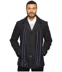 Perry Ellis Wool Button Front With Scarf Charcoal Men's Coat Gray
