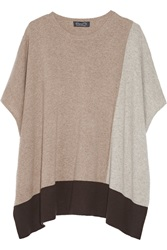 Magaschoni Color Block Cashmere Sweater Brown