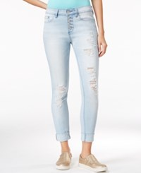 Indigo Rein Juniors' Ripped Light Blue Wash Skinny Jeans
