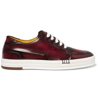 Berluti Playtime Burnished Venezia Leather Sneakers Brown