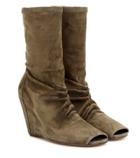 Rick Owens Peep Toe Wedge Suede Boots Green