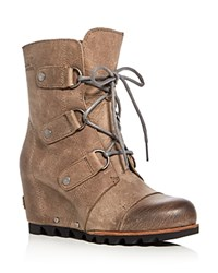 Sorel Joan Of Arctic Lace Up Wedge Booties Dark Fog