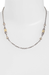 Konstantino 'Classics' Two Tone Hammered Station Necklace Silver Gold
