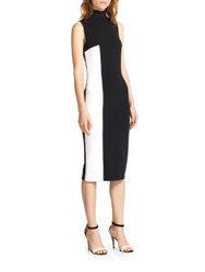 Tanya Taylor Lola Two Tone Turtleneck Dress Black White