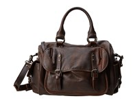 Frye Veronica Satchel Maple Calf Shine Vintage Satchel Handbags Brown