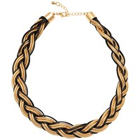 Adele Marie Plaited Sprung Coil Rope And Cord Necklace Gold Black