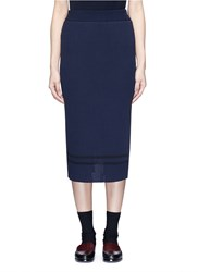 Muveil Stripe Hem Back Split Knit Pencil Skirt Blue