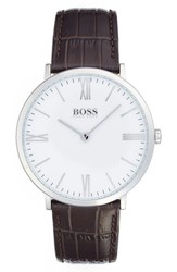 Men's Boss Leather Strap Watch 40Mm White Brown