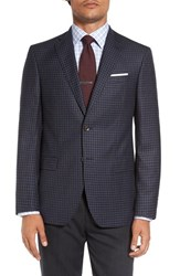 David Donahue Men's Big And Tall 'Connor' Classic Fit Check Wool Sport Coat Medium Blue