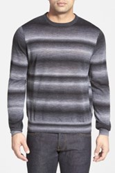 Toscano Stripe Wool Blend Crewneck Sweater Gray