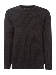 Label Lab Dauphine Textured Crew Neck Jumper Dark Grey
