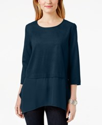 Styleandco. Style And Co. Faux Suede Layered Look Blouse Only At Macy's
