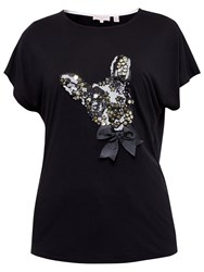 Ted Baker Elsetta Embellished Dog Print T Shirt Black