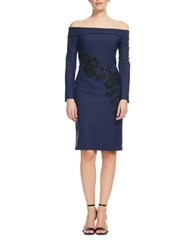 Kay Unger Off The Shoulder Matte And Lace Scuba Dress Navy