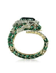 Roberto Cavalli Emerald Green Crystals And Enamel Snake Bracelet
