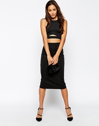 Asos Two Piece Scuba Midi Bodycon Dress Black