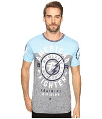 American Fighter Madison Artisan Tee Heather Grey Waterfall Men's T Shirt Blue