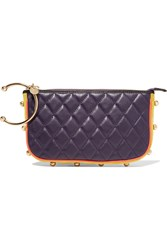 M Missoni Suede Trimmed Quilted Leather Clutch Purple