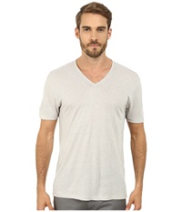 John Varvatos Short Sleeve Knit V Neck With Pintuck Seam Details K2163r2l Vapor Men's Short Sleeve Knit White