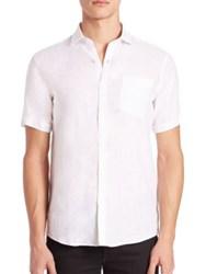 Patrick Assaraf Solid Linen Sportshirt Sailor White