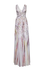 Zuhair Murad Long Georgette Swirling Stripes Printed Dress With A Slit Multi