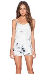 State Of Being Acid Floral Romper White