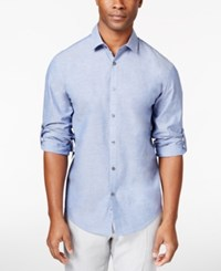 Alfani Black Men's Big And Tall Chambray Long Sleeve Shirt Only At Macy's Sergeant Blue