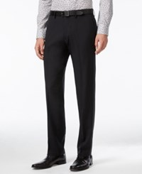 Kenneth Cole Reaction Straight Fit Stretch Gaberdine Solid Dress Pants Black