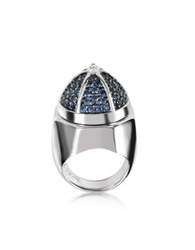 Azhar Rhodium Plated Sterling Silver Adjustable Ring W Black Cubic Zirconia