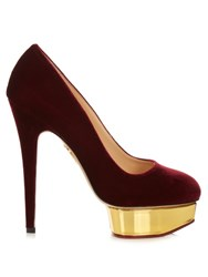 Charlotte Olympia Dolly Suede Pumps Burgundy