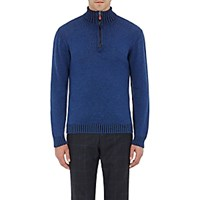 Inis Meain Men's Half Zip Sweater Blue
