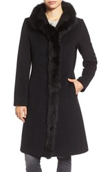 Cinzia Rocca Icons Women's Genuine Fox Fur Trim Wool Coat