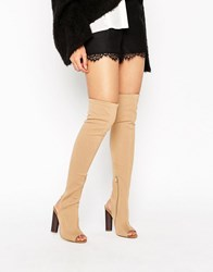 Truffle Collection Peep Toe Over The Knee Boot Taupe Stretch Beige