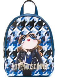 Love Moschino Small Printed Backpack Blue