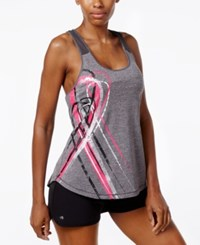 Ideology Pink Ribbon Metallic Graphic Tank Top Only At Macy's Charcoal Heather