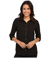 Kut From The Kloth Lexi Collar Blouse W Snaps Eyelet Black Women's Long Sleeve Button Up