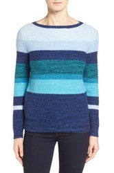 Classiques Entier Stripe Wool And Cashmere Pullover Blue