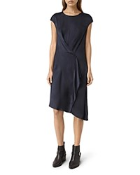 Allsaints Breeze Draped Satin Dress Ink Blue