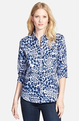Foxcroft Blurred Animal Print Cotton Shirt Cobalt