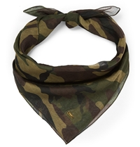 Saint Laurent Camouflage Print Cotton And Cashmere Blend Bandana Green