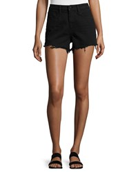 T By Alexander Wang Bite High Rise Frayed Shorts Black Fade Size 24