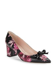 Kate Spade Madelaine Floral Print Leather Pointed Toe High Heels Black Rose