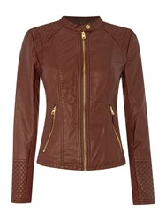 Andrew Marc New York Pu Jacket With Diamond Quilting Detail Brown